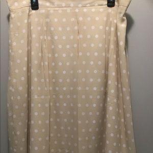 Ann Taylor cream with white polkadots skirt.